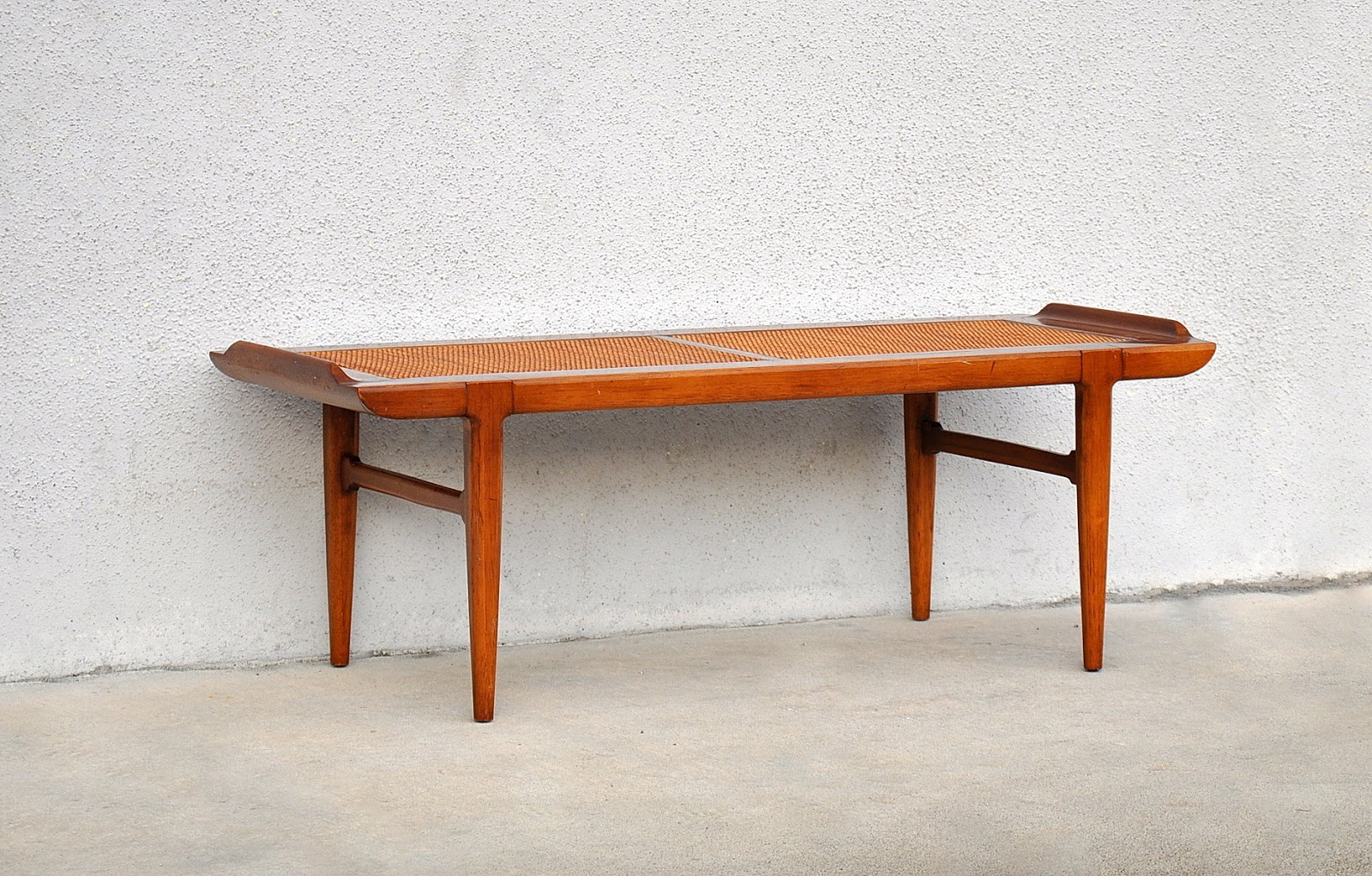 mid century danish modern bench coffee table