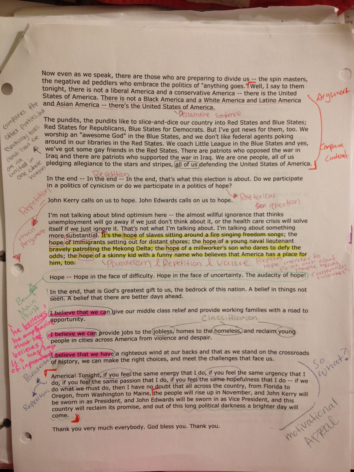 Here Is My Example Of How To Annotate! I Annotated The Speech Of Barack  Obama's Audacity Of Hope This Was Such A Great Text To Annotate Because  Obama