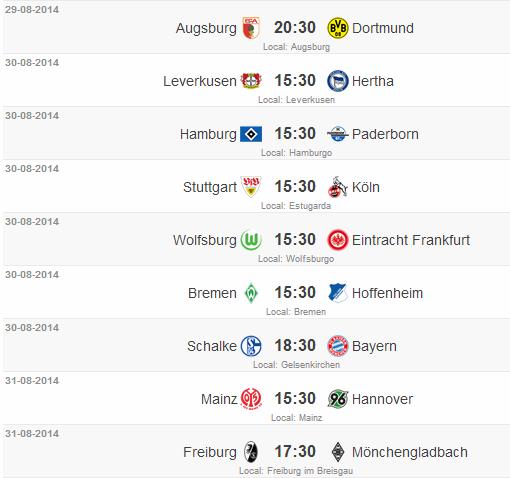 Jogos Campeonato Alemão 2° Rodada 2014/15