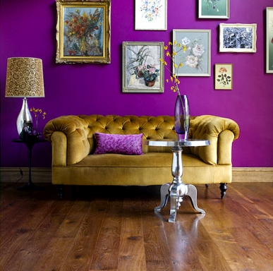 [A purple and golden retro-style interior]