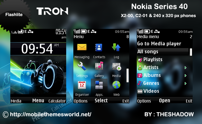 ... :Tron movie theme for Nokia C2-01, X2-00 and 240 x 320 px phones