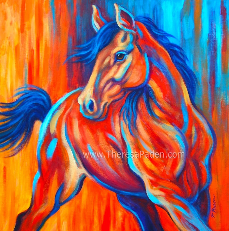 Bright Colorful Abstract Horse Art By Theresa Paden