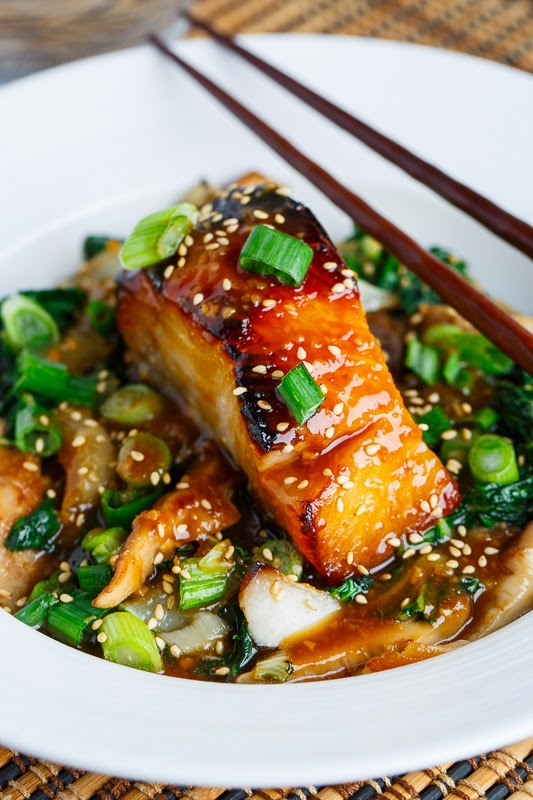 served the miso glazed black cod on a bed of shiitake mushrooms and ...