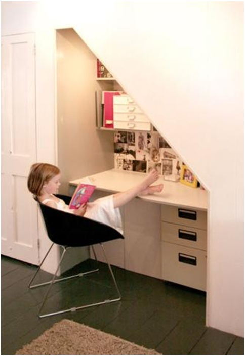 Office desks under the stairway. Small office designs
