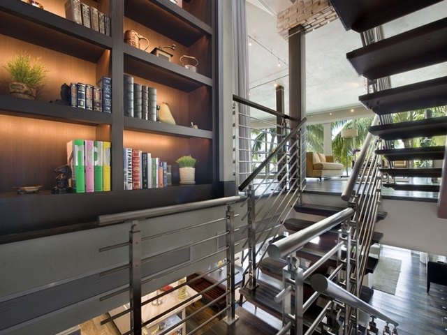 Staircase to the gallery at South Pointe Modern Apartment, Miami Beach, Florida