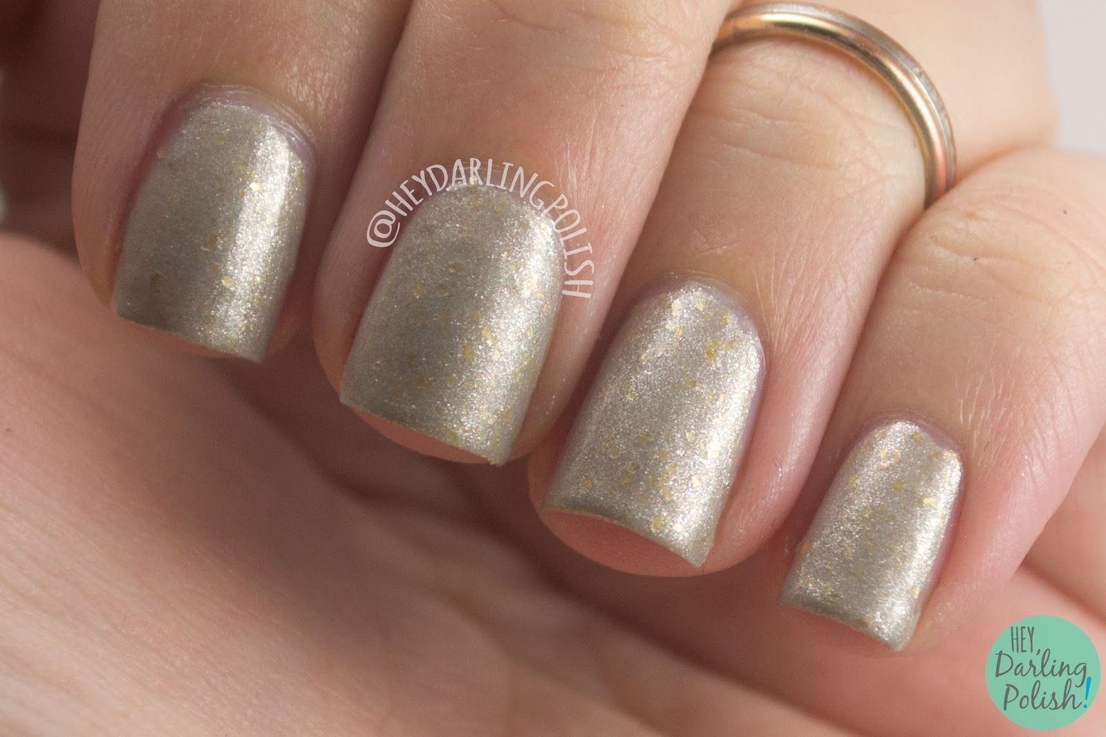 silver, gold, shimmer, flakes, silver & cold, nails, nail polish, indie nail polish, indie polish, lac attack, festivus collection, christmas, holiday, hey darling polish, swatch, review