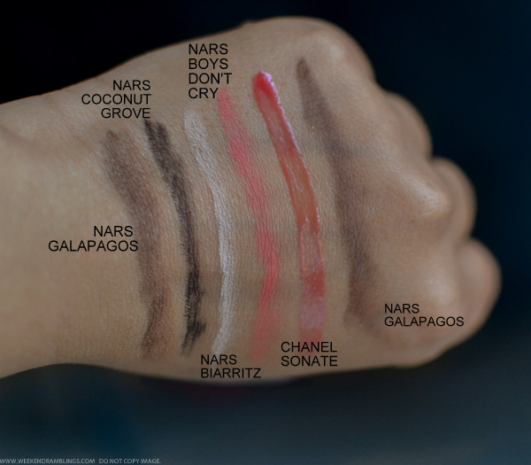 Makeup Swatches - NARS Galapaos Coconut Grove Biarritz Eyeshadows Chanel Sonate Glossimer