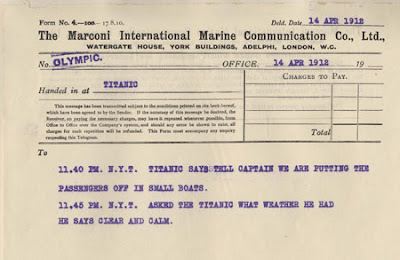 Distress signals of the Titanic, 14 April 1912 | marconigram -Travel Europe Guide | Titanic 100th anniversary