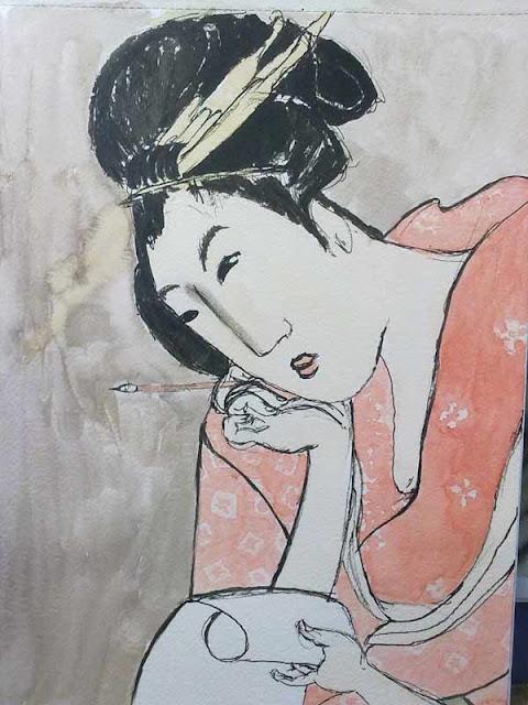 hokusai con tinta y acuarela