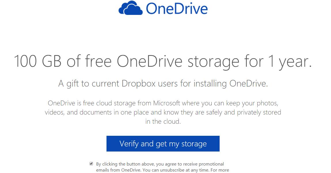 微軟送所有 Dropbox 用戶額外 OneDrive 100GB 空間