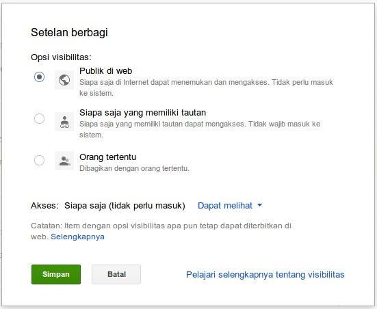 Settingan permission di google drive