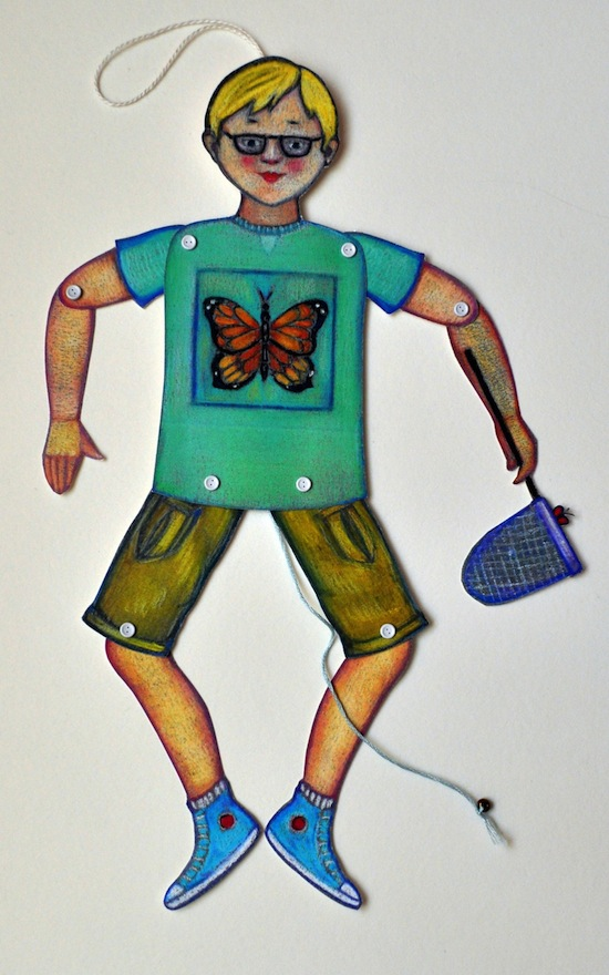 Vicki Smith Art     Jumping    Jack with Butterfly Net