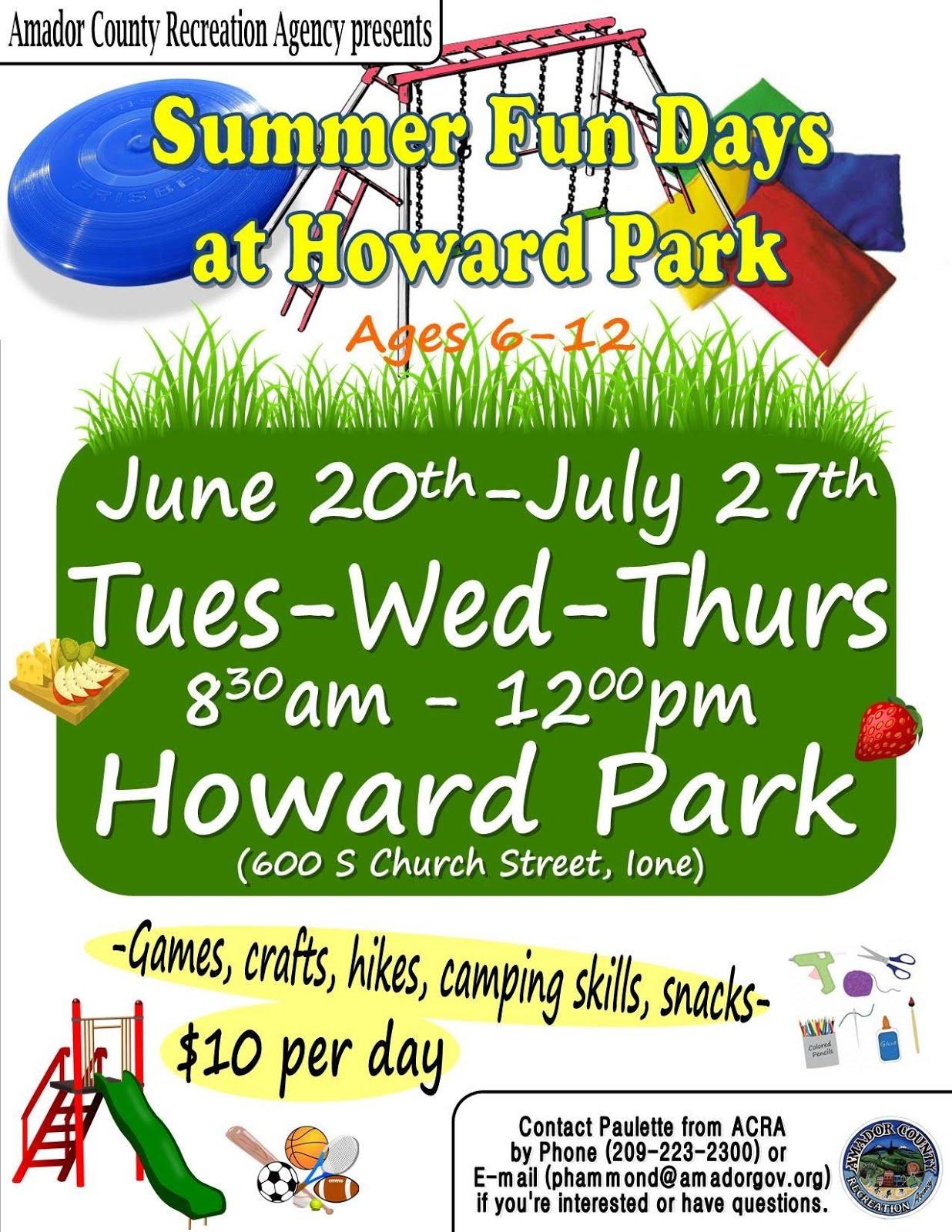 Summer Fun Days at Howard Park ~ Through July 27