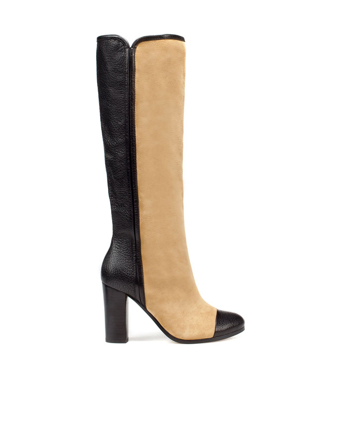 i orla kiely zara two tone wide heel boots