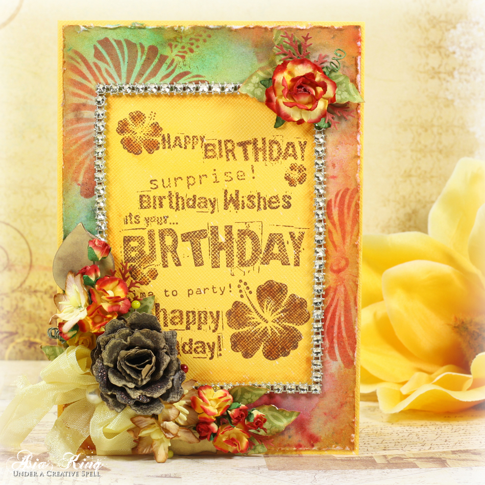 October Birthday Ecards ~ Autumnal wishes with watercolour brusho background under a creative spell