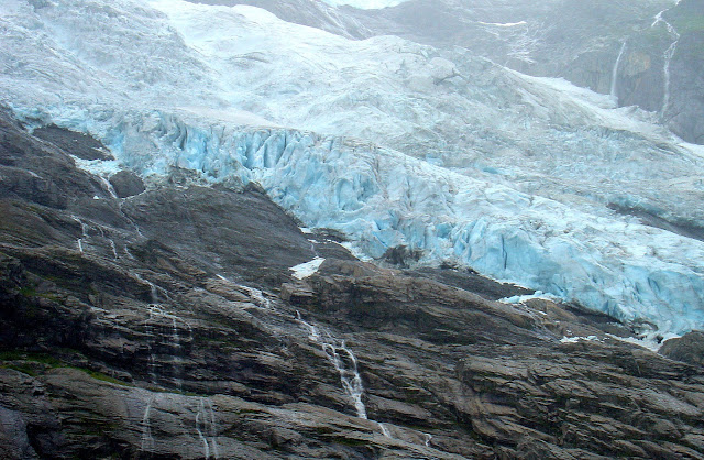 Close-up view of the Bøyabreen Glacier in Fjærland, Norway.