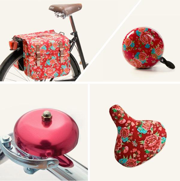 Timbre, funda para sillín y alforja flores Gardenias, para bicicleta clásica.