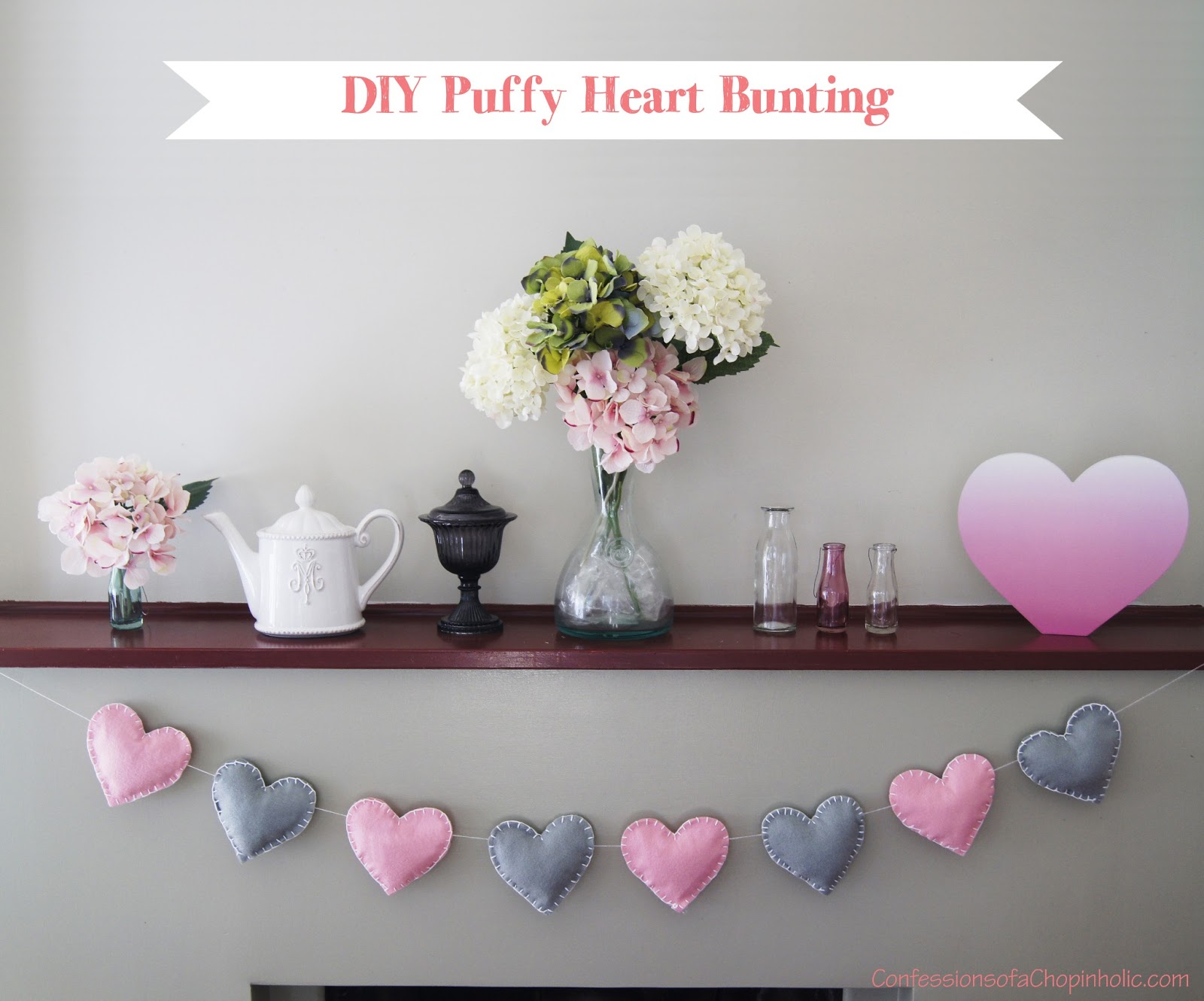 heart bunting, bunting, felt, how to make bunting, garland