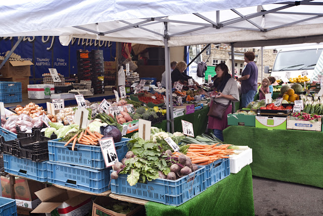 Fruit and veg for sale at the popular Chipping Norton market in the Cotswolds