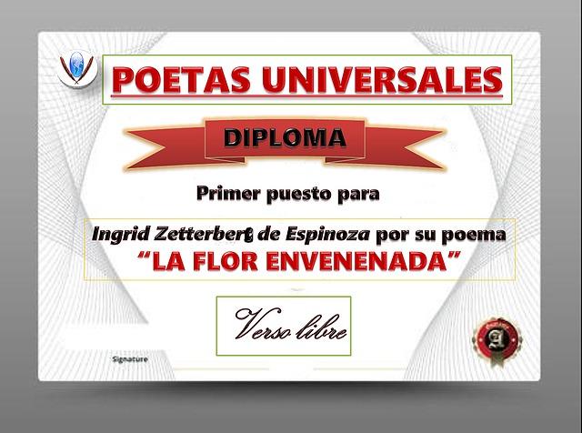 """Primer puesto en el foro """"Poetas Universales"""""""