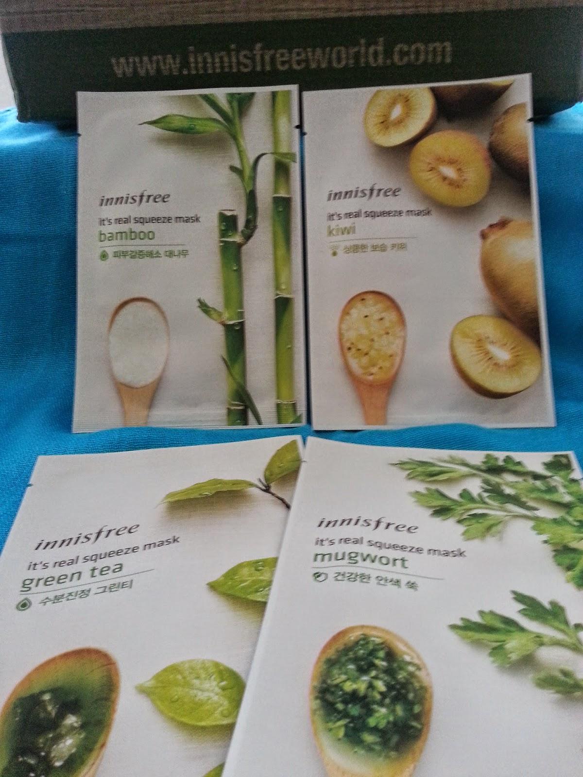 green tea, bamboo, kiwi, mugwort sheet masks