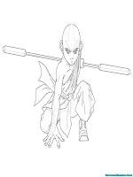 Mewarnai Gambar Avatar Aang Berlatih Dengan Tongkat