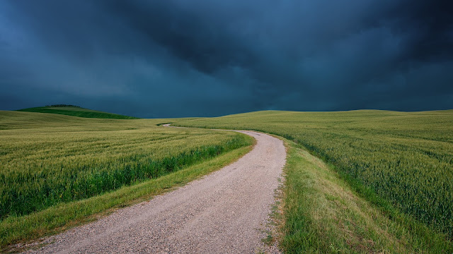 Italy Tuscany fields road grass black clouds HD Wallpaper