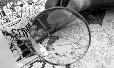 magnifying glass examining illustration