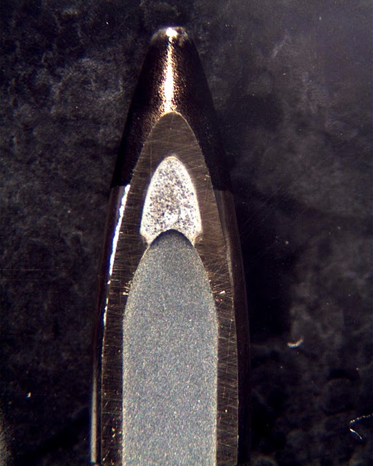 Tip of 30-06 cross section of armor piercing  bullet