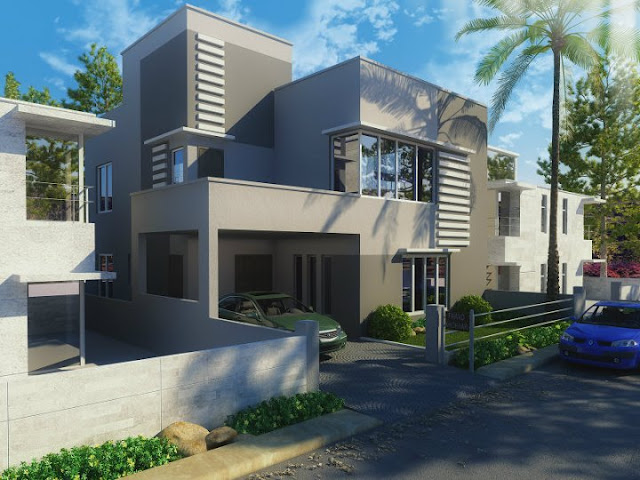 3D Front Elevation   Nice Modern 3D front Elevation of House