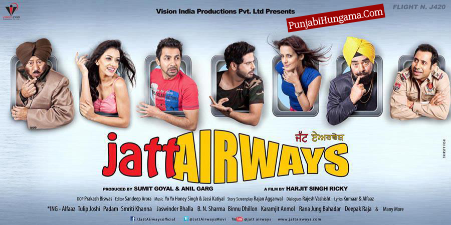Jatt Airways Movie official Poster by Alfaaz & Tulip Joshi