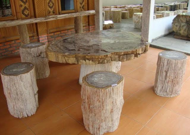Indogemstone outdoor patio furniture for sale for Petrified wood furniture for sale
