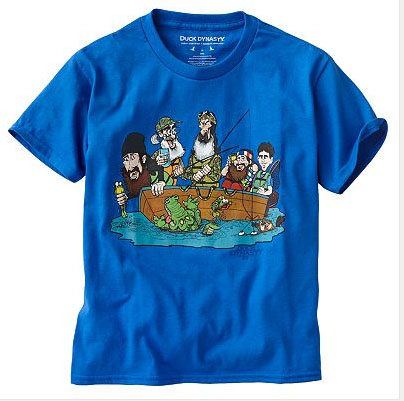"This Duck Dynasty shirt of the boys in a boat and the ""Boys Will be"