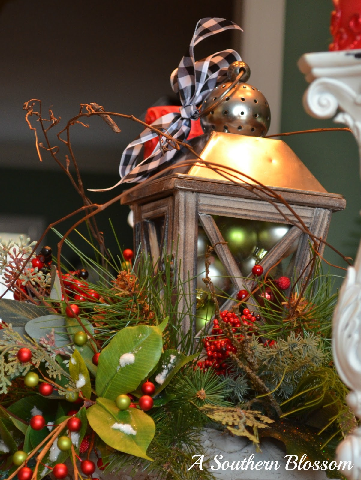 A southern blossom woodland christmas tablescape