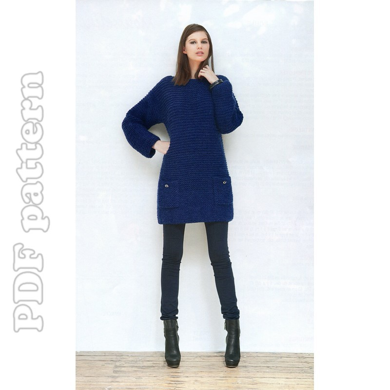 Knitting Pattern Jumper Dress : Easy Sweater Dress Knitting Pattern - Long Sweater Jacket