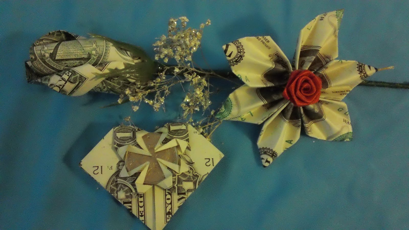 how to make an origami flower with money