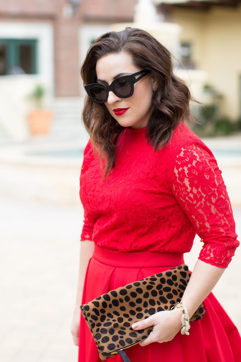 karen walker sunglasses, red lace shirt