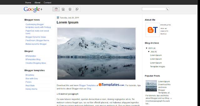 Free Blogspot Blog Templates: Google Plus Blogspot Template