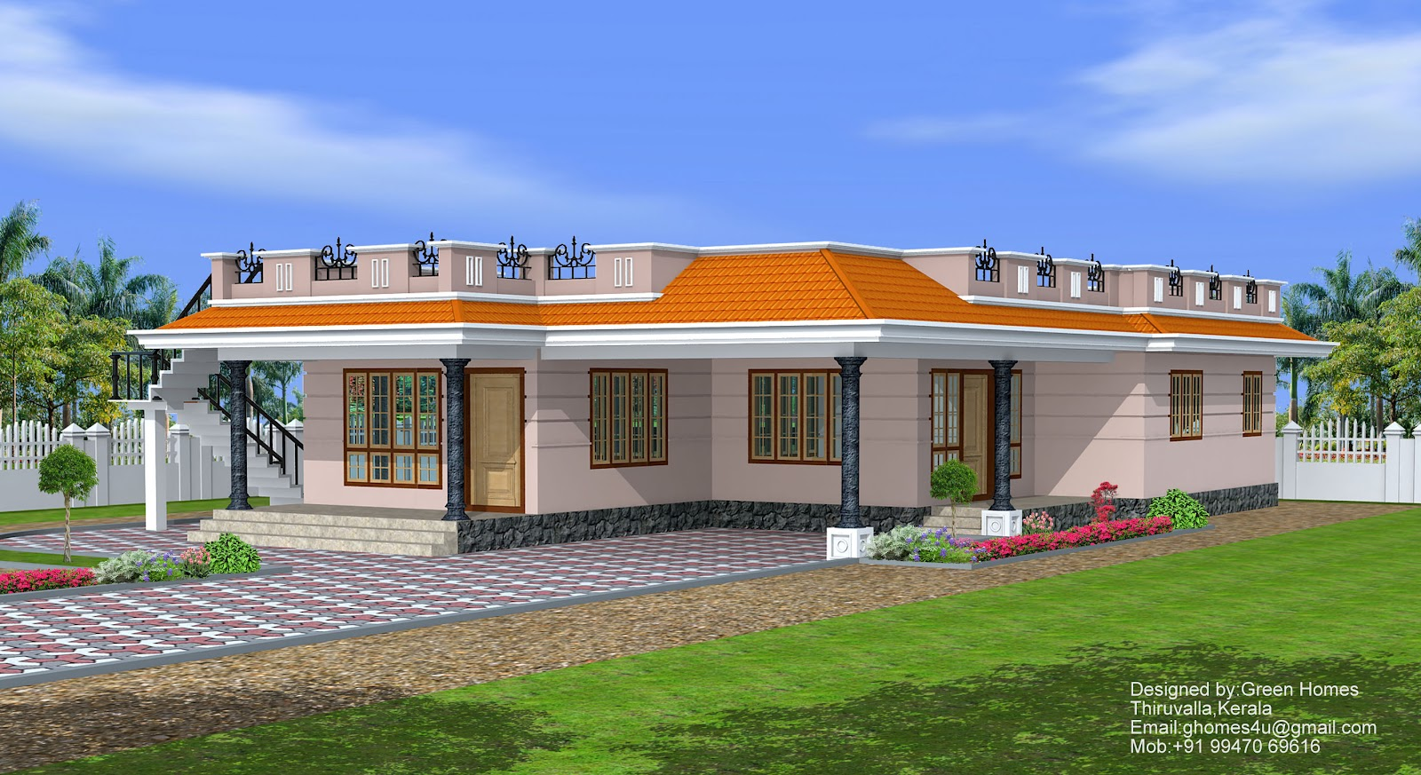 1850 Sq.feet single storey house designed by Green Homes , Thiuvalla