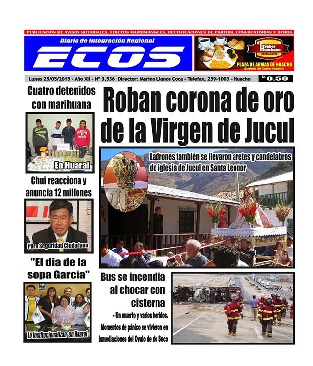 Esta es la edición del Diario ECOS lunes 25 de mayo del 2015