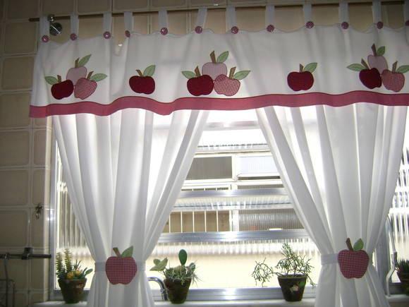 cortina para cozinha artesanal maça