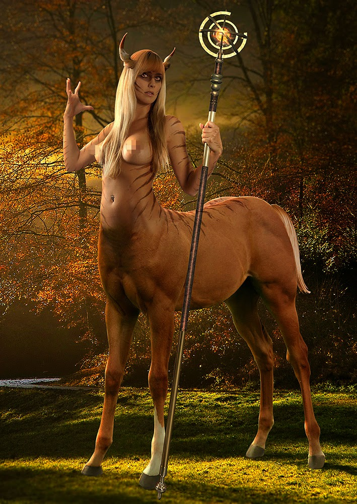 A Centaur girl holding a staff, mood is autumnish
