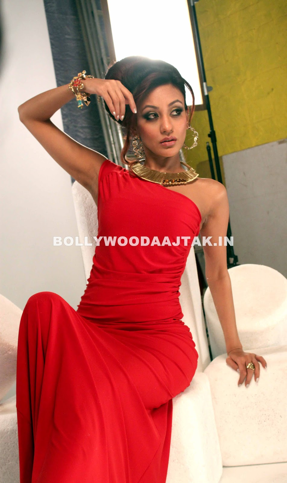 Vedita in off shoulder red gown pic -  Vedita Pratap Singh Hot Photoshoot pics