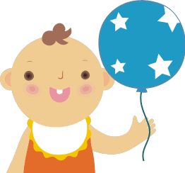 風船をもった子どものイラスト