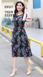 New 2018 17-Design Sweet Floral Plus Size Drawstring Waist Smooth Short Cotton Dress