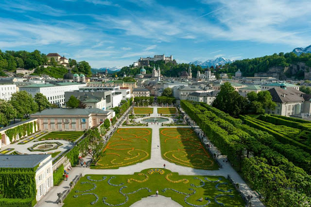 Salzburg - The Mirabelle Gardens and the Fortress above