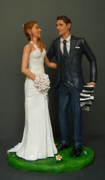 cake topper milano realistico originale statuine sposi sposo tifoso orme magiche