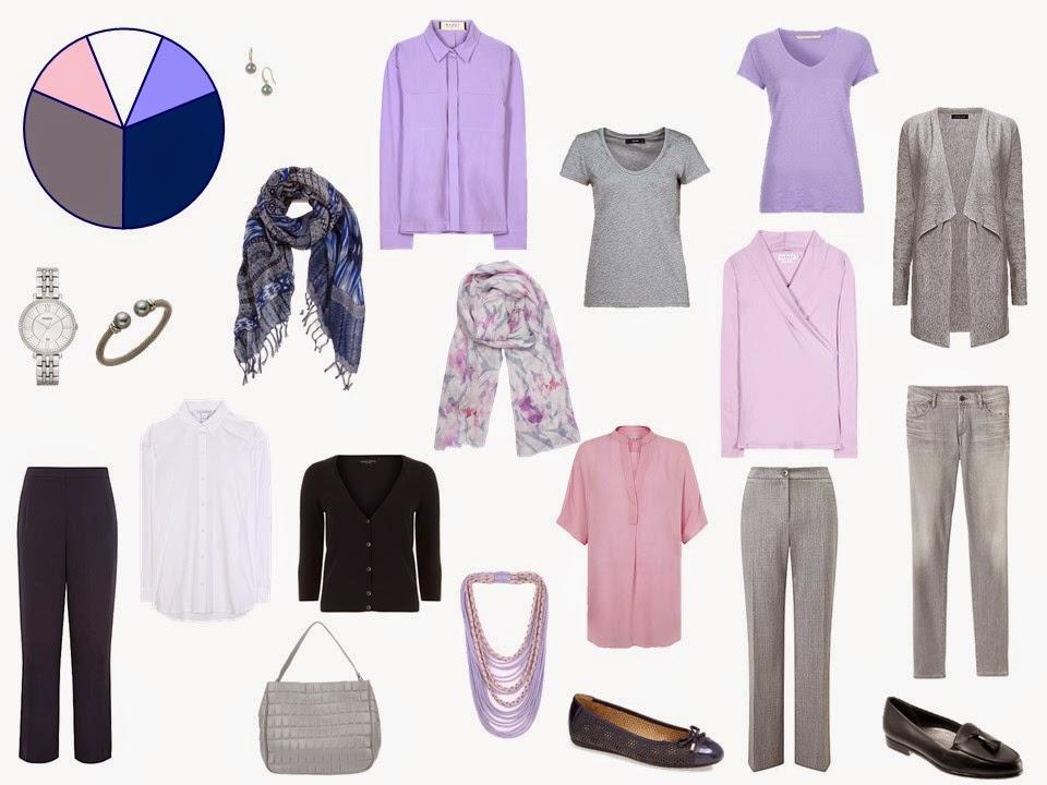 11 piece grey, navy, pink and lavender  travel capsule wardrobe
