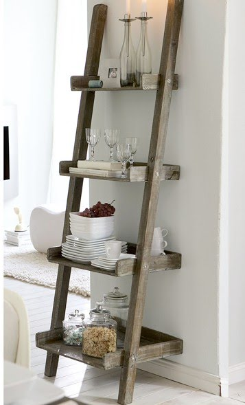 Diy project a ladder shelf for Escaleras de madera decoracion ikea