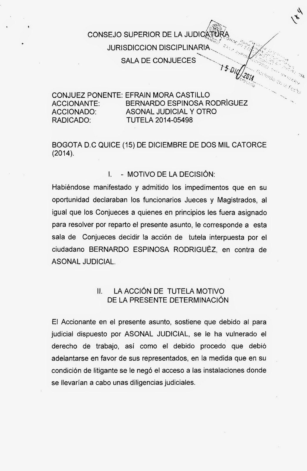 SENTENCIA DE TUTELA PARA REANUDAR LAS ACTIVIDADES JUDICIALES EN ...